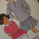 80's Girls 4 5 6 7 Sewing Pattern Dropped Waist Dress Long or Short Sleeves Kwik Sew 1822