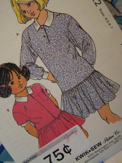Girls Vintage Kwik Sew Pattern 1823 Dropped Waist Dress Gathered Skirt 8 10 12 14