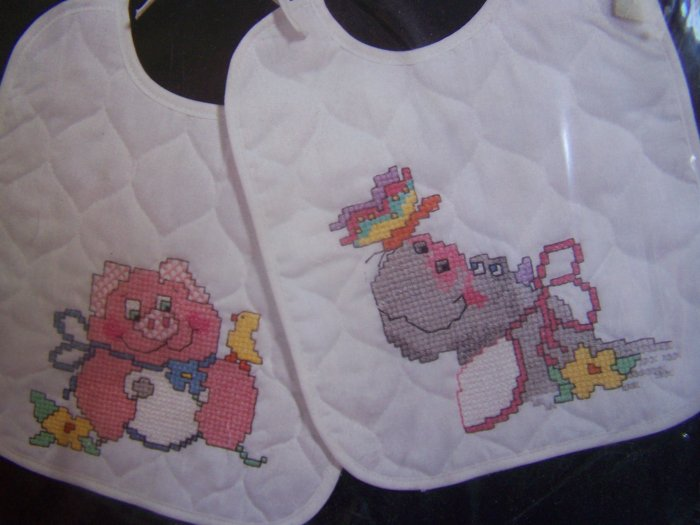 Vintage Janlynn Printed Cross Stitch 2 Quilted Baby Bibs Craft Kit Pig Hippo