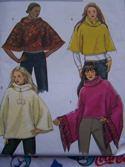 Misses Poncho Sewing Pattern 4612 Fringe Fur Pompons Lined Hood Collar Sz 4 - 14