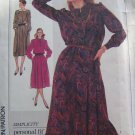 Vintage Simplicity Sewing Pattern 7596 Long Sleeve Dress Pleated Skirt Elastic Waist Bust 34