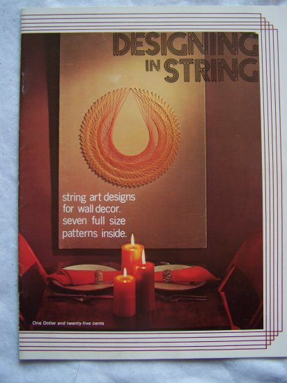70's Designing in String Book 7 Retro Wall Art Patterns to Make Thread and Nails or Pins