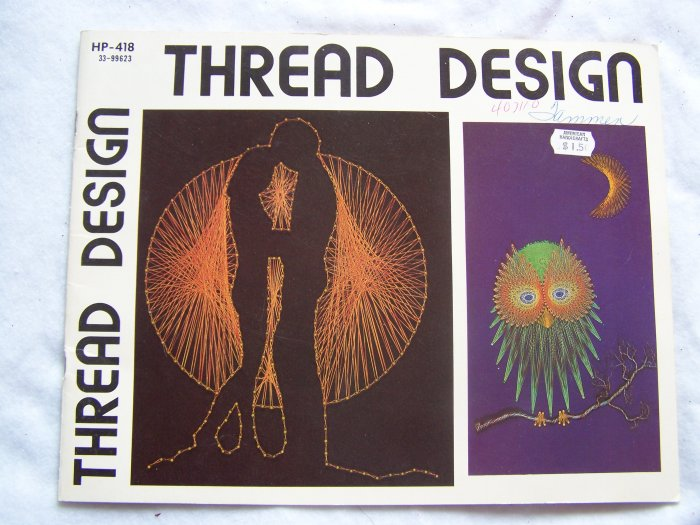1970s vintage string art pattern book thread designs