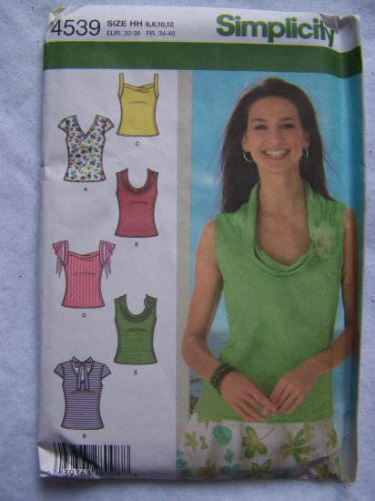 USA 1 Cent S&H Simplicity Sewing Pattern 4539 Misses 6 8 10 12 Knit Summer Sun Tops