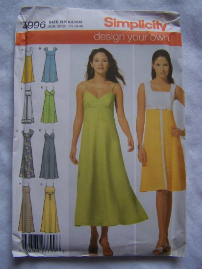 1 Cent USA S&H Simplicity Sewing Pattern 4996 Misses Dress 6 8 10 12 Design Your Own Sundress