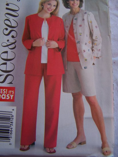 Butterick Sewing Pattern 4165 Misses 14 16 18 Suit Set Jacket Top Shorts Pants