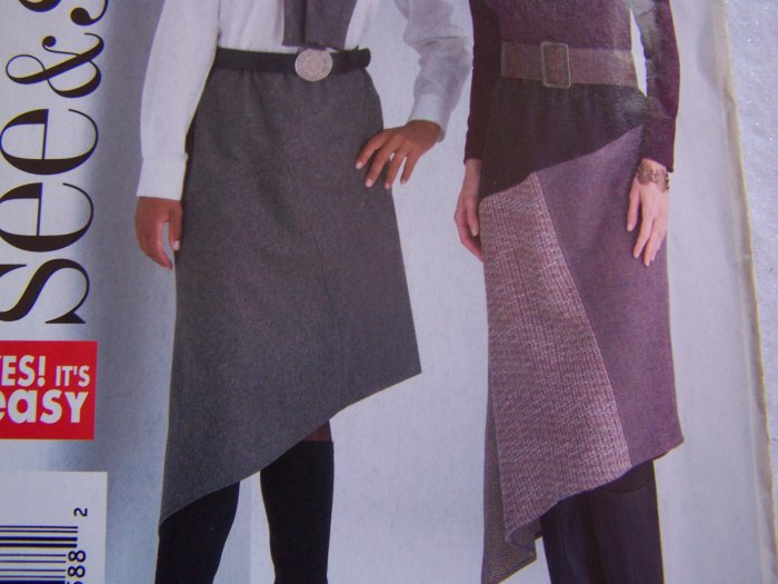 Free USA S&H Misses Asymmetrical A Line Skirts Butterick Sewing Patterns 4265 Sz 12 14 16