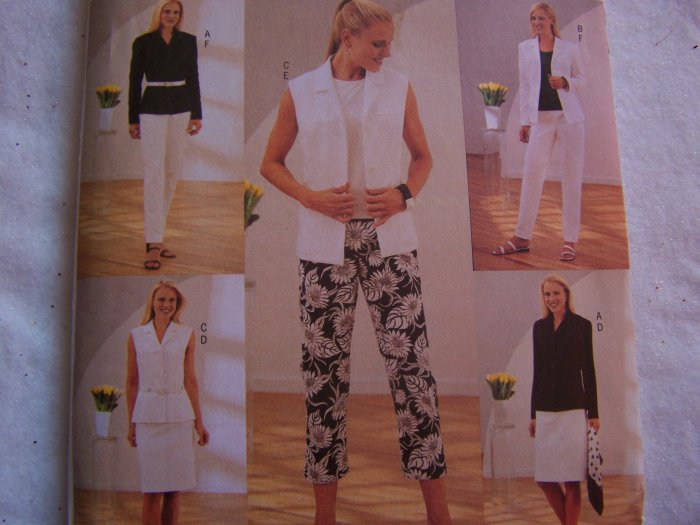 Butterick Sewing Pattern 3717 Wardrobe 12 14 16 Shirt - Jacket Vest Slim Skirt Capri & Pants