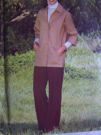 Vintage Misses Sewing Pattern Bust 38 Unlined Jacket Turn Back 3/4 Sleeve Slim Pants 6284