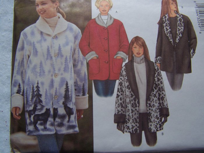 Misses 12 14 16 Fleece Coat Jacket Sewing Patterns 6774 Sz 12 14 16 Uncut Butterick