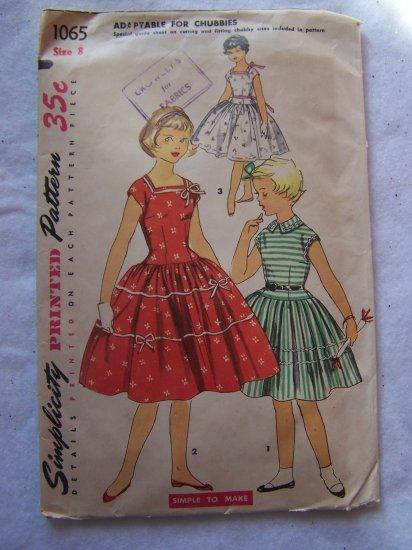 1950's Girls Sz 8 Dress Sewing Pattern Full Skirt Square or Round Neck V Back 1065
