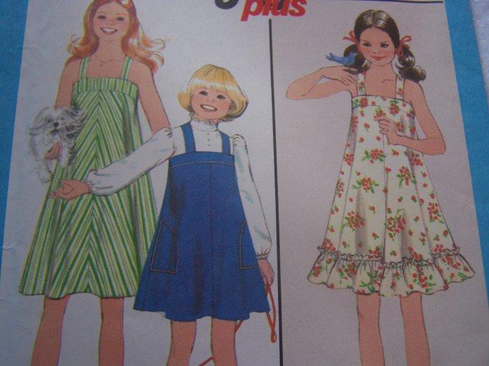 Girls Vintage 70's Sz 10 Ruffle Sundress or Jumper Dress Sewing Pattern Simplicity 8369