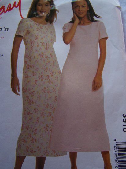McCall's Sewing Pattern 3910 Misses Summer Easter Dresses Empire Dress 8 10 12 14