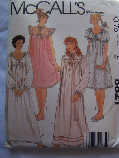 Vintage Misses 14 16 Nightgowns Sewing Patterns 8821 Lace Ruffles Short or Long Gowns