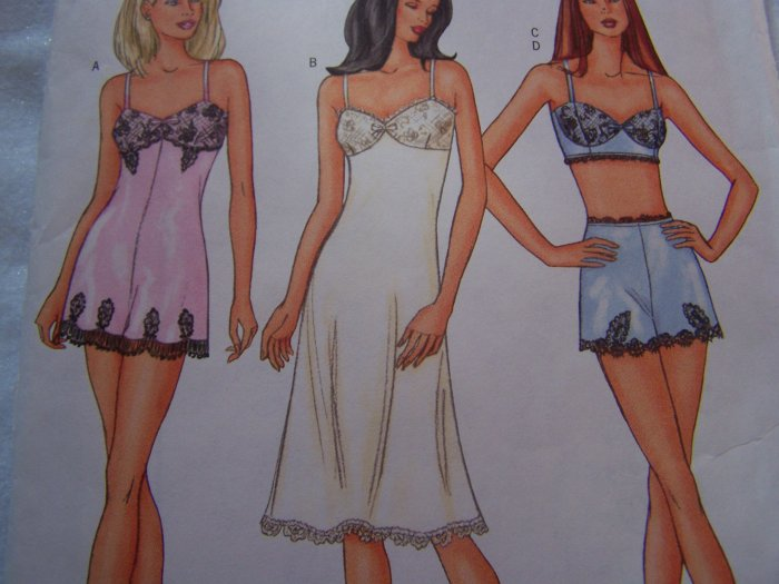 Butterick 3264 Misses Lingerie Sewing PatternTeddy Slip Bra Top Mini Shorts 12 14 16