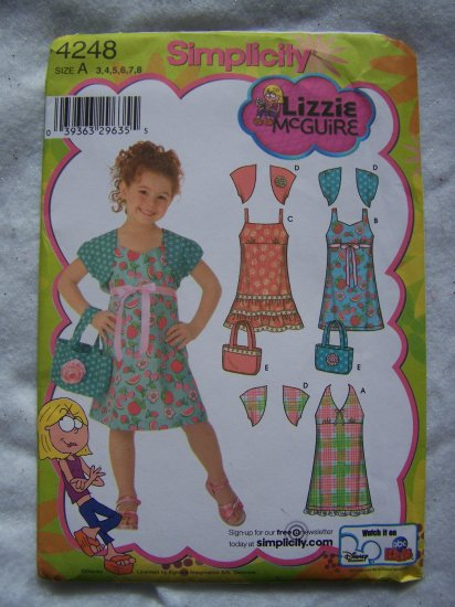 Lizzie McGuire Simplicity Sewing Pattern 4248 Girls Dress Strap Sundress Halter Tie Bolero Purse