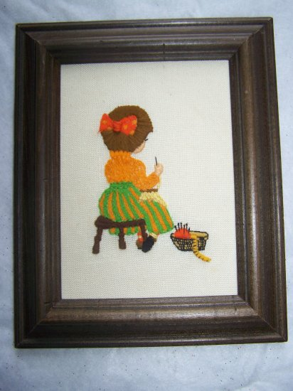 60's Vintage Needlepoint Art Embroidery Picture Girl Sitting on Stool Wood Frame
