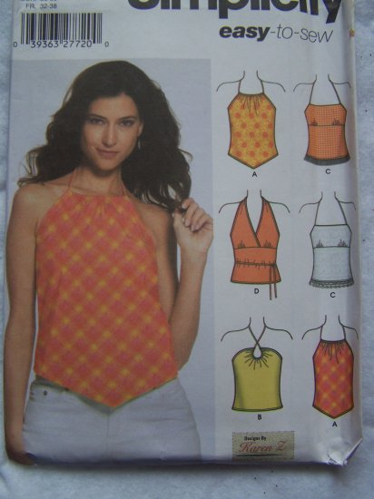 Uncut easy Simplicity 5057 Sewing Pattern Misses Halter Shirts 12 14 16 18 20