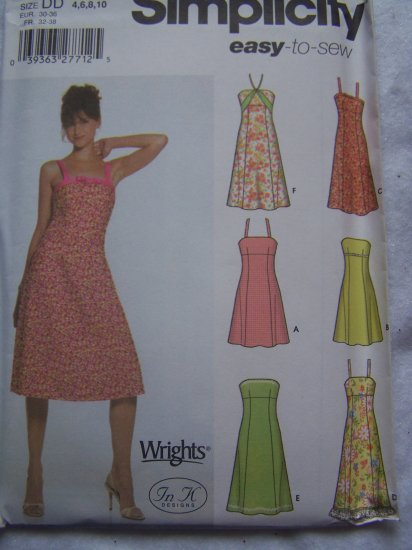 USA 1 CENT S&H Simplicity 5052 Sewing Pattern Misses Sundress Straps Strapless 4 6 8 10