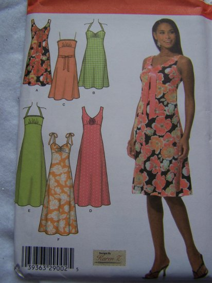 Simplicity Sewing Pattern 4630 Summer Dress Sundress Strapless Tie Straps Strapless 6 8 10 12