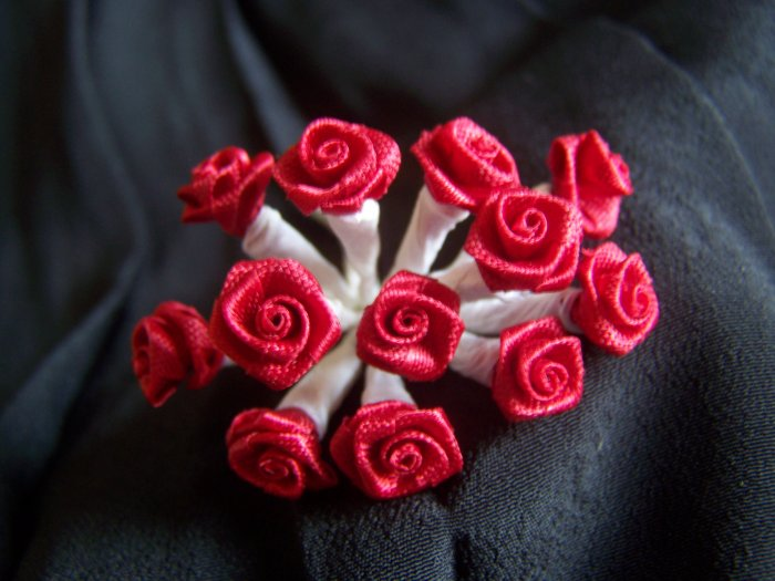 144 Red Ribbon Roses 3/8 White Wire Stems Crafts Floral Rose