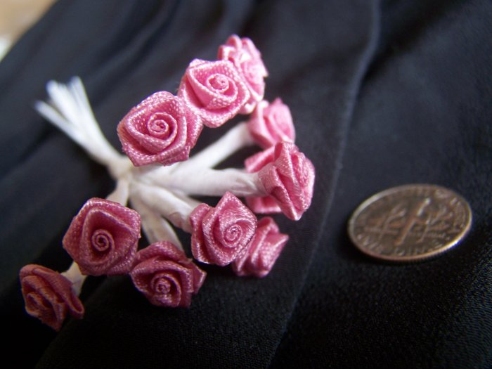 New 144 Ribbon Roses Mauve Dusty Rose Pink White Wire Stems 3/8 Flowers