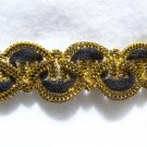Vintage Victorian Lace Gimp Trim Black Velvet & Gold Metallic 2 + yards  x 5/8""