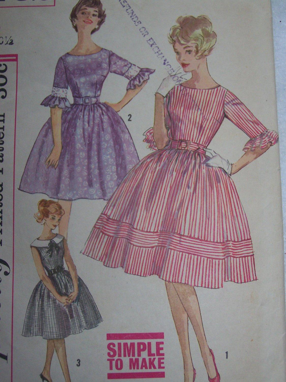 Vintage Simplicity Sewing Pattern 3782 Full Skirt Dress 3/4 Ruffled Sleeve Jr Girls 9