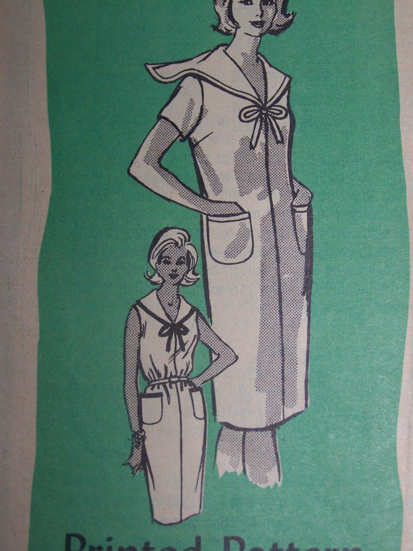 Vintage Misses Sailor Dress Sewing Pattern 4574 Mail Order Sleeveless Short or 3/4 Sleeves