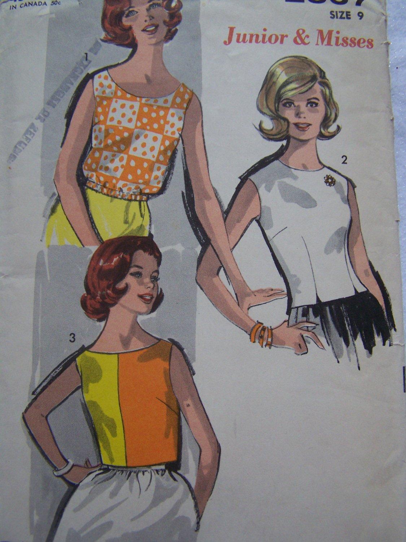 60s Vintage Easy Advance Sewing Pattern 3 Juniors Girls Summer Tops Blouses Shirts Sz 9 XXS XS