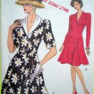 New Vogue Vintage Sewing Pattern 8252 Princess Seam Flared Dress Shawl Collar 8 10 12