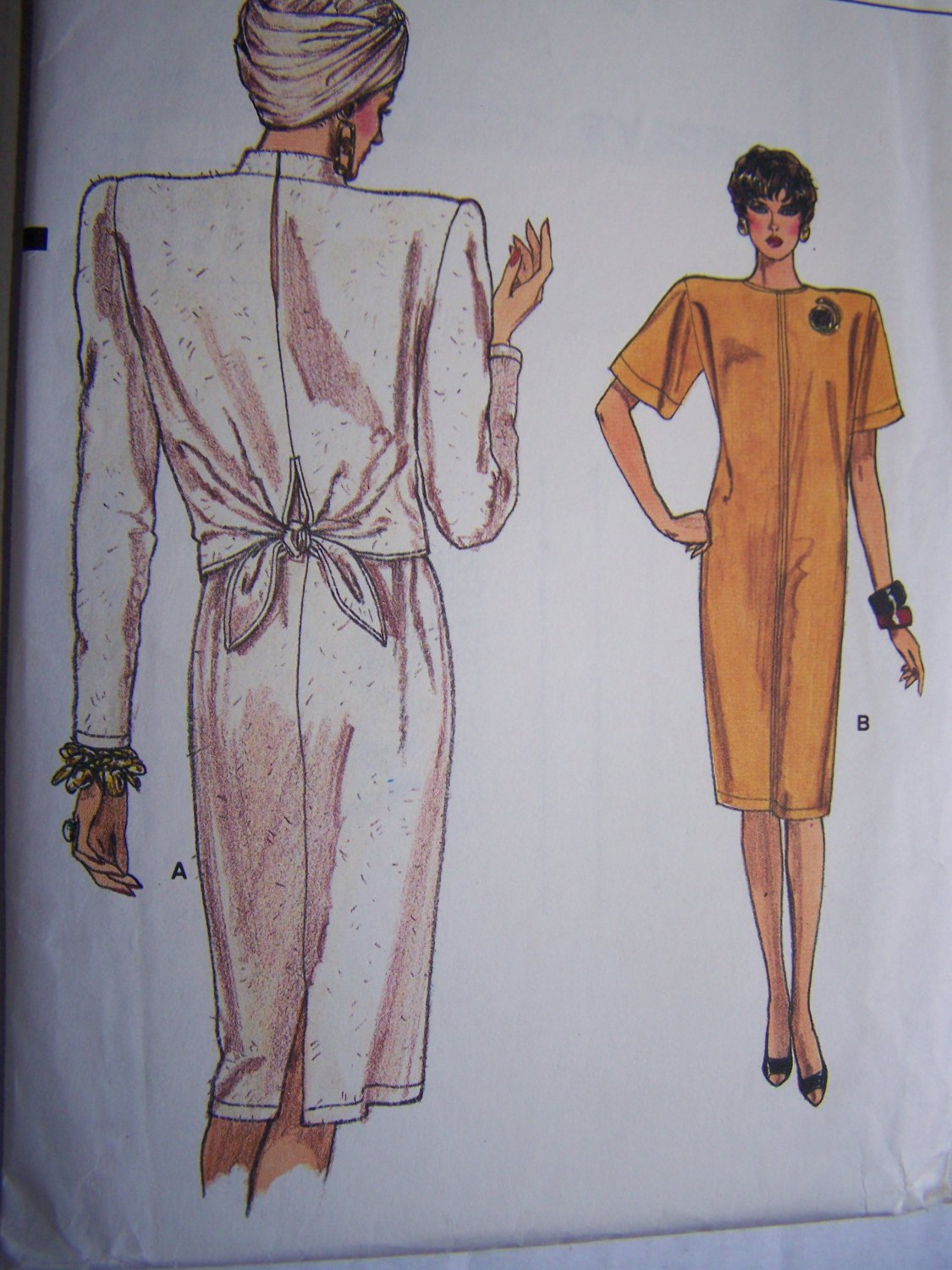 Uncut 80s Vintage Dress Loose Tapered Back Overlay Tie 14 16 18 Vogue Sewing Pattern 9675
