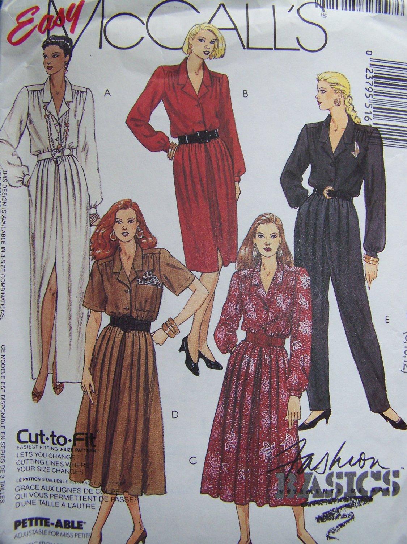Uncut Misses 8 10 12 Sewing Pattern 5161 Shirt Waist Dresses Pleated Jumpsuit