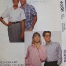 Uncut Sewing Pattern 4056 Men Misses Teens 3 Hour Dress Shirt Short Long Sleeves Medium