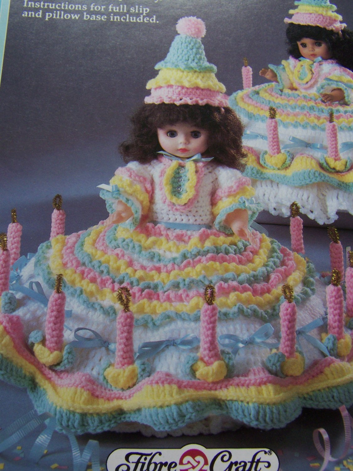 Fibre craft doll clothes crochet pattern birthday girl for Fibre craft 18 inch doll