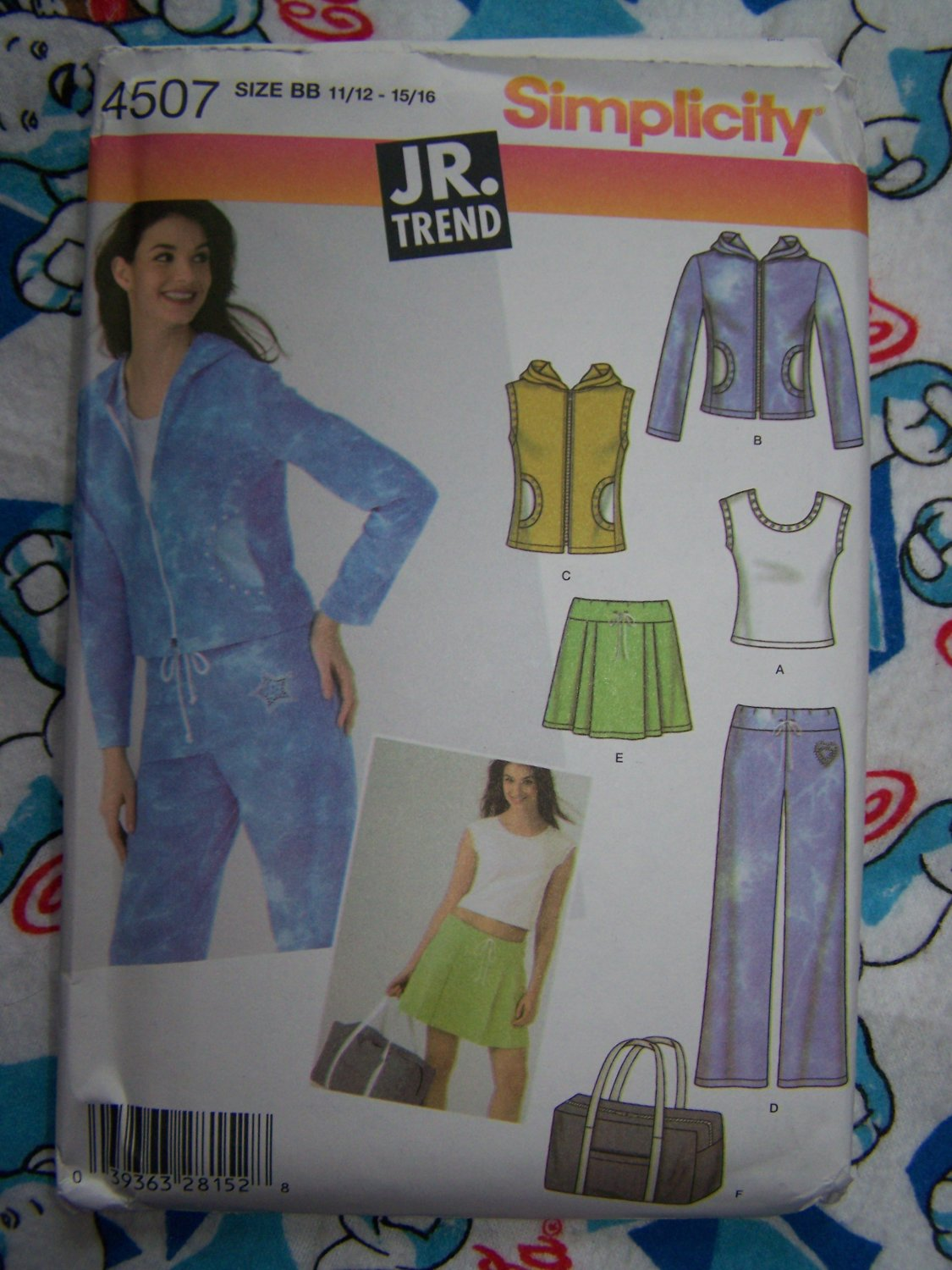 New Juniors Sewing Pattern 4507 Workout Loungewear Outfits Skirt Pants Top Vest Jacket