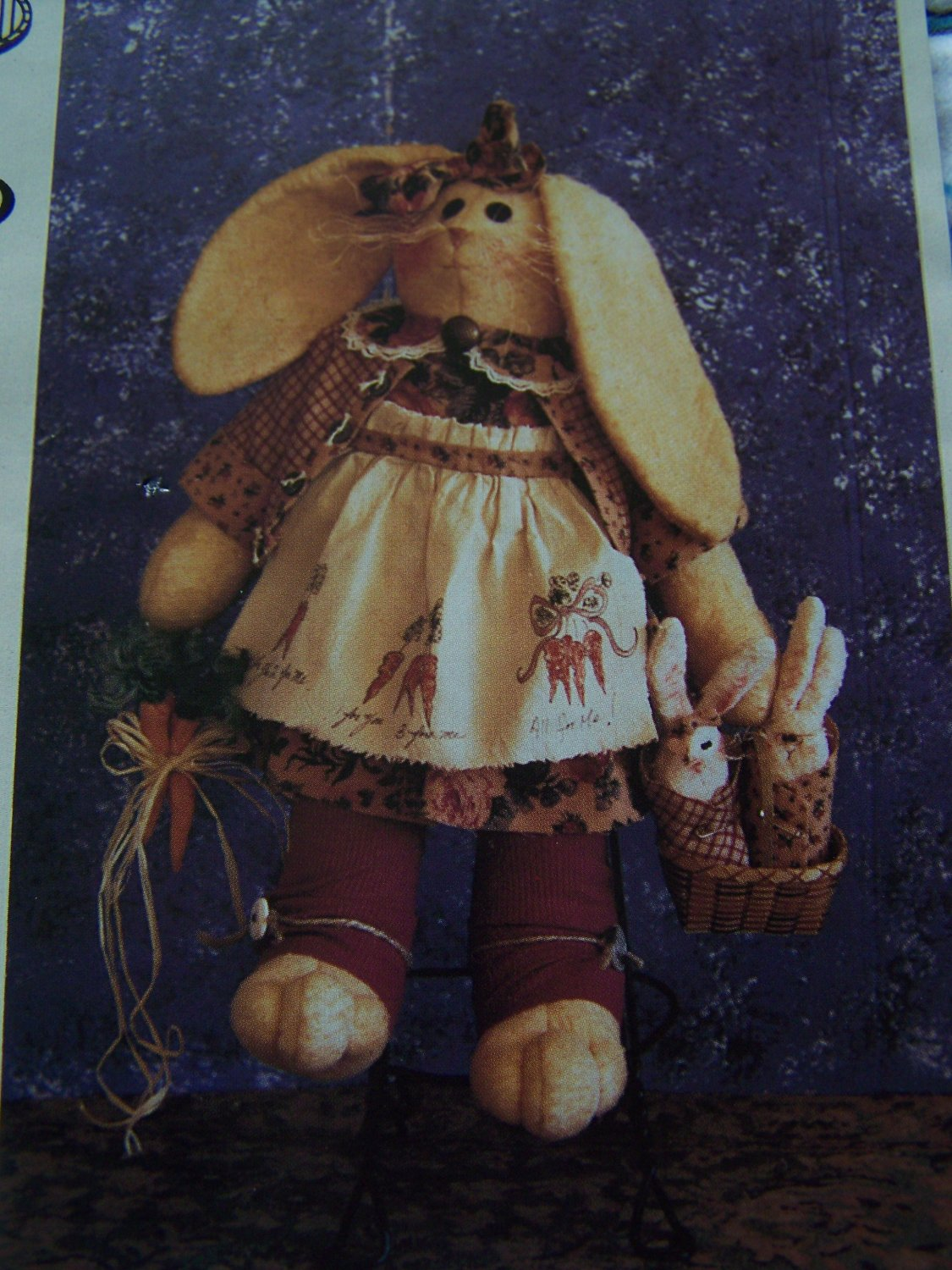 """New Sewing Pattern Flop Ear Bunny Rabbit Stuffed Toy Doll & Clothing 24"""" Tall & Babies"""