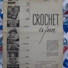 1950's Vintage Pattern Book Crochet IS Fun 12 Crocheting Patterns Baby Kitchen Womens