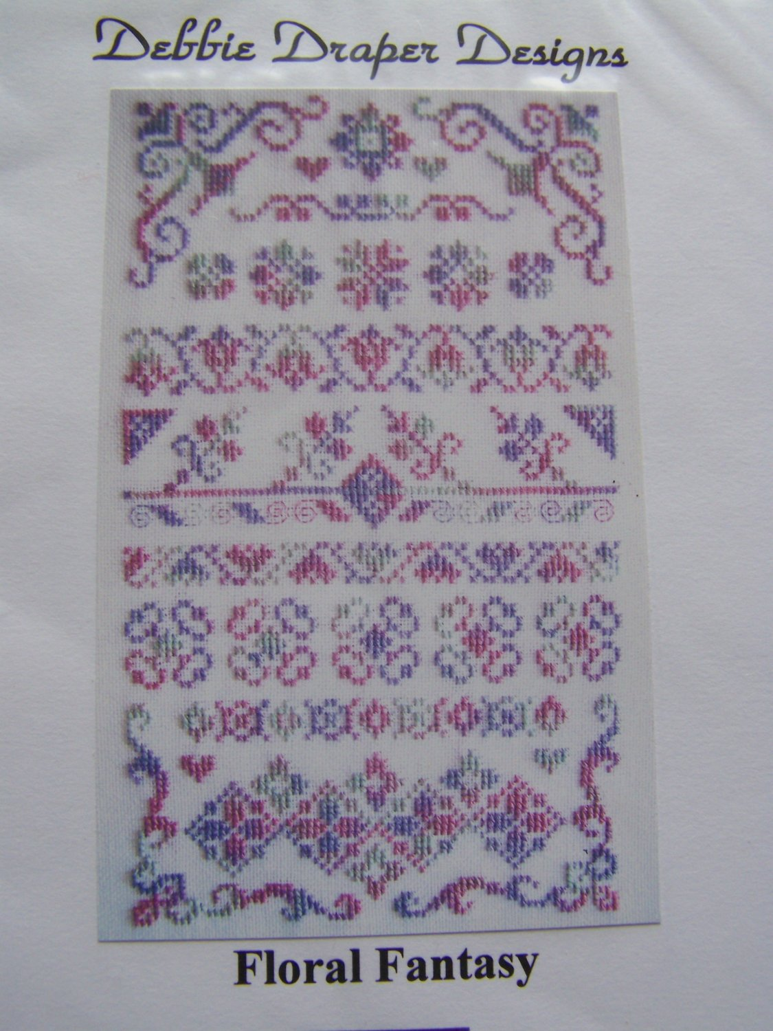 New Debbie Draper Designs Floral Fantasy Cross Stitch sampler Pattern Graph Free Heart's Desire