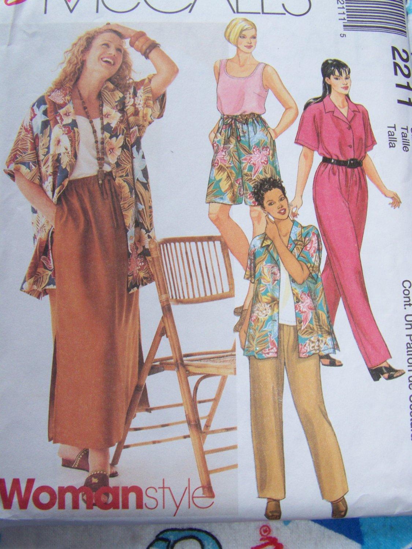 Uncut Womens Plus Size Sewing Pattern 2211 Wardrobe Shirt Pull on Pants Shorts Skirt 18 20 22W