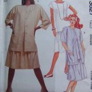 Uncut Vintage 80s Easy Sewing Pattern 3527 Womens 18 20 Shirt Jacket & Dropped waist Dress