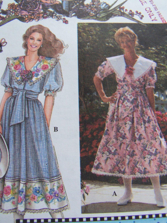 New 1990s Misses Daisy Kingdom Dress Sewing Pattern 9453 Full Skirt Big Collar 10 12 14 16