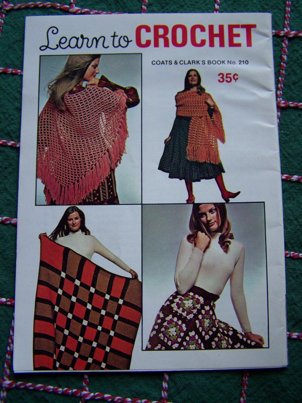 Vintage Easy Learn to Crochet Book 210 Beginner Patterns Purse Belt Poncho Skirt Shawl +