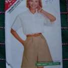 New Vintage Sewing Pattern 6177 Misses High Waist Pleat Shorts Cuff Hem Cotton Shirt 12 14 16