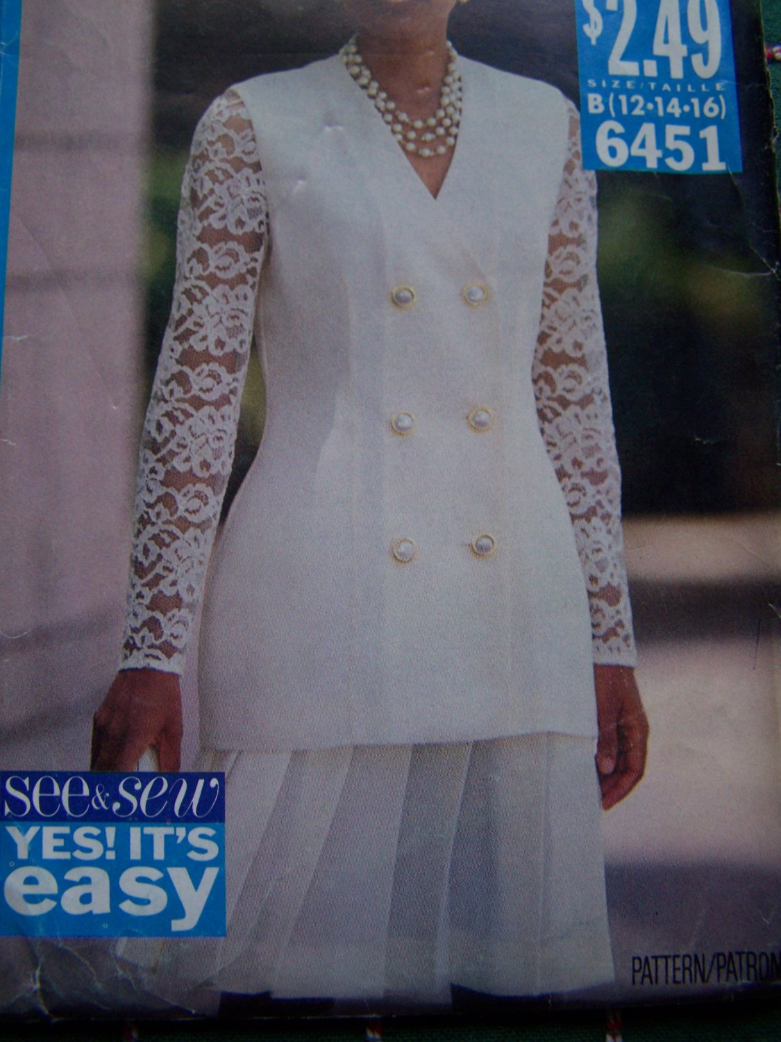 Uncut Butterick Misses Sewing Pattern 6451 Lace Sleeve Jacket Top Pleated Skirt 12- 14- 16