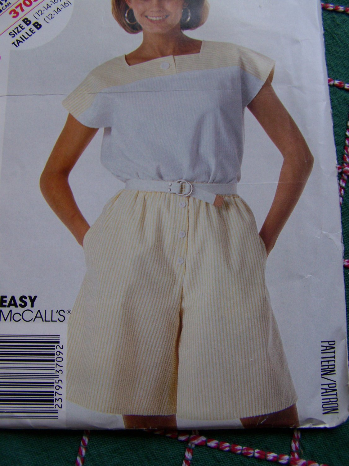 Uncut Stitch N Save McCalls Misses Top & Shorts Sewing Pattern 3709 Sz 12 14 16