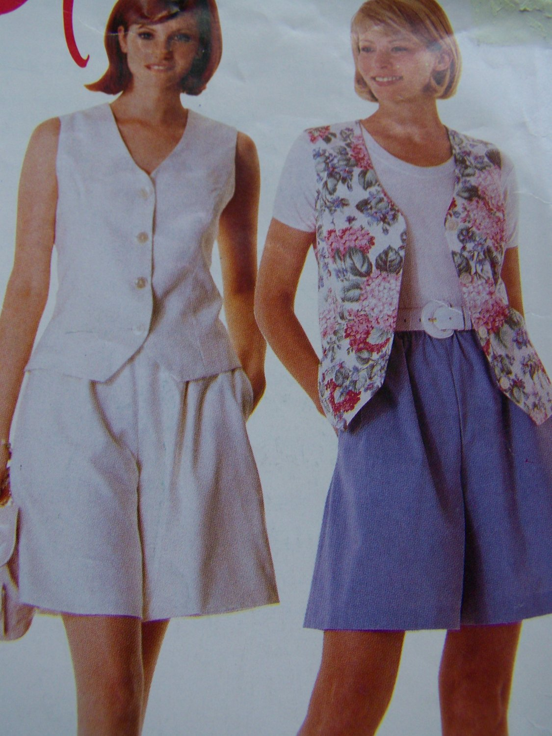 Uncut McCalls Sewing Pattern 8030 Misses Lined Vest Pull On Shorts 8 10 12 14