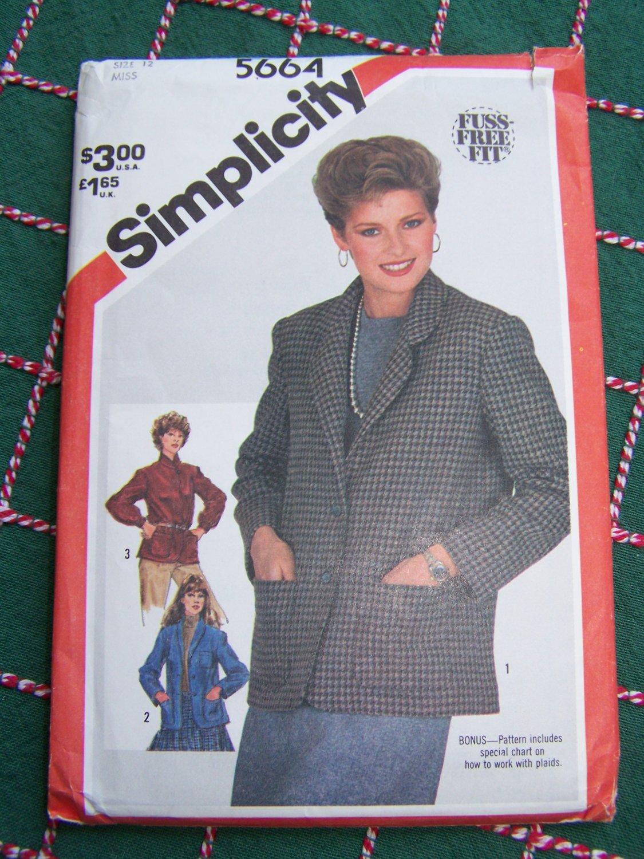 Uncut 1980s Vintage Misses Bust 34 Unlined Jackets Sewing Pattern 5664
