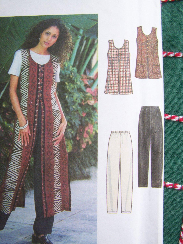 Uncut Sewing Pattern 8213 Long or Short Split Vent Vest Top Elastic Shorts Pants 12 14 16