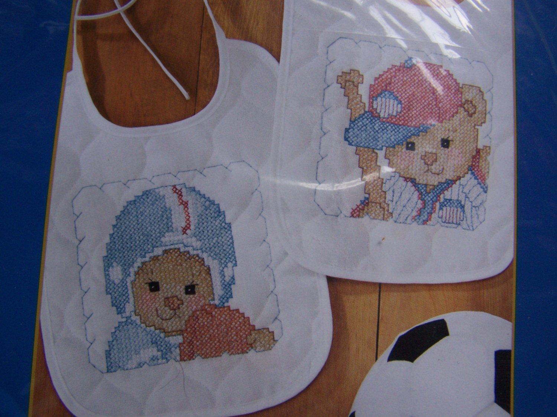 New Bucilla Sports Bears baby Bib Cross stitch kit Football Baseball